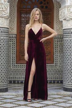$169.00 Spaghetti straps Front Slit Prom Dress,Burgundy Velvet Prom Dress,2017 Popular Velvet Prom Dress