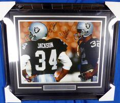 Bo Jackson & Marcus Allen Autographed Framed 16x20 Photo Los Angeles Raiders Beckett BAS