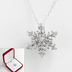 10k White Gold 1/4-ct. T.W. Diamond Snowflake Pendant