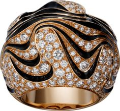 Paris Nouvelle Vague ring: Paris Nouvelle Vague ring, pink gold, black lacquer, set with 228 diamonds totaling carats. Cartier Jewelry, Diamond Jewelry, Gold Jewelry, Fine Jewelry, Cartier Rings, Jewelry Rings, Jewellery, Red Gold, Pink And Gold