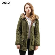 d4c9ab1f4aa8a Zqlz Plus Size Casual Winter Coat Women 2018 New Hooded Faux Fur Long Parka  Mujer Thick Warm Outwear Ladies Cotton Jacket Female-in Parkas from Women s  ...