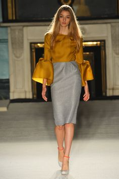 Roksanda Ilincic, puffed sleeves, unusual, long sleeves, pencil skirt, sophisticated and smart casual