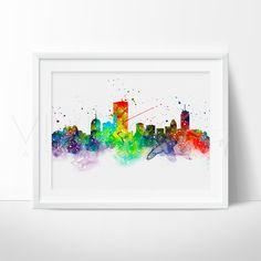 Boston Skyline Watercolor Art Print Wall Decor