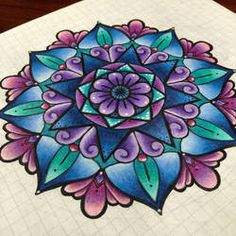 Purple and Blue Mandala by julesbaker Mandala Art, Colorful Mandala Tattoo, Mandala Flower Tattoos, Mandala Tattoo Design, Flower Tattoo Designs, Flower Mandala, Henna Designs, Mandala Colour, Paisley Tattoos