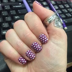 Plum & White Polka #jamberrynails #plumandwhitepolkajn carriemsjams.jamberry.com