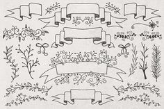 Hand Drawn Banners, Branches, Leaves by Callie Hegstrom on @creativemarket