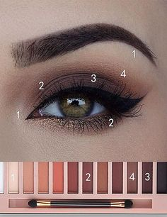 Make Up - Eye Makeup Tutorial; Eye makeup for brown eyes; Eye makeup, of course; Make up Daily Eye Makeup, Everyday Eye Makeup, Eye Makeup Tips, Makeup Inspo, Makeup Ideas, Makeup Hazel Eyes, Makeup Products, Everyday Eyeshadow, Makeup Brands