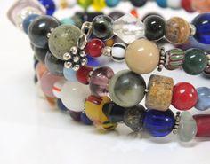Memory Wire Beaded  Bangle  Wrap Bracelet by mostlybeads on Etsy, $28.00