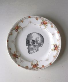Vintage Anatomical Skull Plate Altered Art. $19.00, via Etsy.