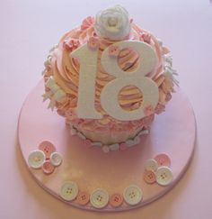 18th birthday big cupcake ideas  I have the pan for this! we could make a few and then do smaller ones for your guests!