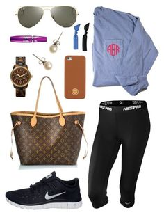 """2 hour delay!"" by lyanders ❤️ liked on Polyvore featuring Louis Vuitton, NIKE, J.Crew, MICHAEL Michael Kors, Ray-Ban, Tory Burch, Maybelline and Splendid"