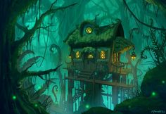 Swamp Cottage by Zanariya forest jungle tree house landscape location environment architecture | Create your own roleplaying game material w/ RPG Bard: www.rpgbard.com | Writing inspiration for Dungeons and Dragons DND D&D Pathfinder PFRPG Warhammer 40k Star Wars Shadowrun Call of Cthulhu Lord of the Rings LoTR + d20 fantasy science fiction scifi horror design | Not our art: click artwork for source: