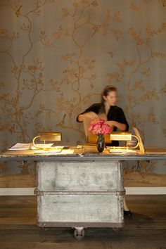 the reception desk at the Tavern in Brentwood designed by Jeffrey Marks