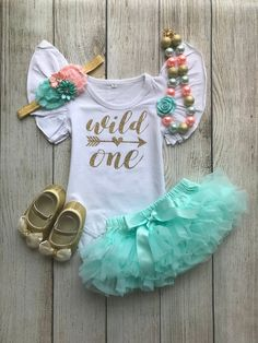 Wild One Birthday Outfit - Wild One Girl - Wild One First Birthday Outfit - Aqua/Mint and Peach - Cake Smash - Birthday Photos Birthay 1 Wild One Birthday Party, Baby Girl 1st Birthday, 1st Birthday Photos, First Birthday Outfits, First Birthday Parties, Birthday Ideas, Birthday Celebration, Smash Cake Girl, 1st Birthdays