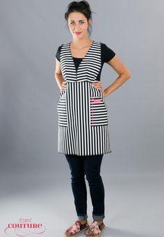 Schürzen - Schwarz Weiß gestreifte Schürze Janna - ein Designerstück von Kittelcouture bei DaWanda