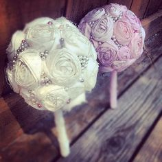 Fabric Flower Wedding Bouquets Vintage Inspired by EllaryeBoutique, $100.00