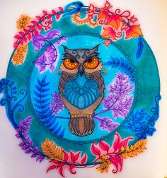 Johanna Basford Enchanted Forest Adult Colouring Book Owl In Wreath Coloured By Judy Boechler