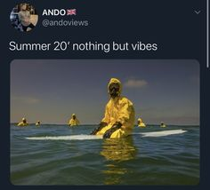 Summer 20 nothing but vibes surfing on the beach in a hazmat suit no need for a beach body this year quarantine mood Stupid Funny Memes, Funny Relatable Memes, Haha Funny, Funny Posts, Funny Stuff, Really Funny, Laugh Out Loud, Dankest Memes, Funny Pictures