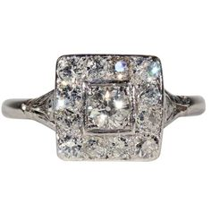 Vintage Art Deco Diamond Engagement Ring, Square Halo Ring in Platinum from Victoria Sterling Antique Jewelry