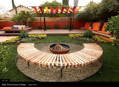Fire pit on contained, pebble, circular space with semi-circle slated bench.