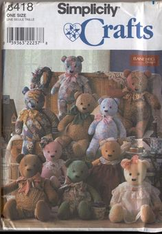 Simplicity 8418 Bear Dolls Overalls and Collars 18 20 and 22 inch