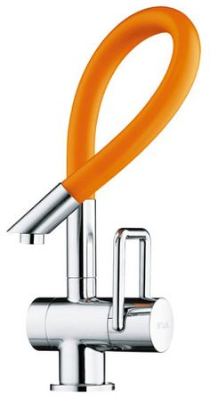 Arwa - Twinflex Flexible taps. Zurich-based designer Florin Baeriswyl with his slim, colorful Twinflex faucets. A synthetic hose is encased within a metal hose, which in turn is sheathed with PVC that can be specified in orange, blue, gray, or black; the rest of the faucet is finished in chrome. 41-44-878-12-12; arwa.ch.