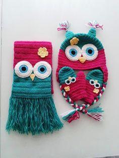 bufandas y gorros tejidos kangutingo #kangutingo #crochet info: 3115093291 Crochet Owls, Crochet Cap, Crochet Baby Hats, Crochet Shoes, Crochet Beanie, Crochet Scarves, Cute Crochet, Crochet Animals, Crochet For Kids