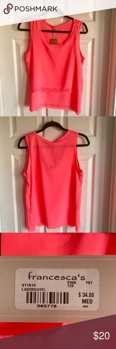 Neon Pink Francesca's Tank Top NWT Adorable Francesca's layered neon pink tank top! Perfect condition, never worn, NWT. Definitely will show off a tan in the summer! Francesca's Collections Tops Tank Tops