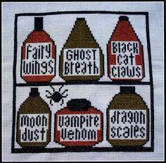 Spell Shelves Cross Stitch Pattern - Time to spice up your spells with some exotic ingredients! This little gem is super easy to stitch, and uses only 3 colors of floss. Design measures 93 stitches high by 93 stitches wide.