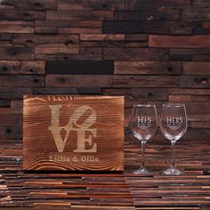 His & Her Wine Glass Set with Wood Box