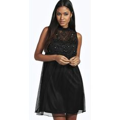boohoo boutique Boutique Aida Beaded High Neck Babydoll Dress ($52) ❤ liked on Polyvore featuring dresses, black, black sequin dress, maxi dress, black cocktail dresses, black bodycon dress and sequin bodycon dress