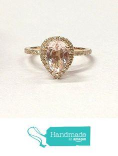 Pear Morganite Engagement Ring Pave Diamond Wedding 14K Yellow Gold 6x8mm from the Lord of Gem Rings https://www.amazon.com/dp/B01GVQO1O2/ref=hnd_sw_r_pi_dp_p.dHxbZR0F8BG #handmadeatamazon