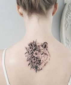 Super Cute Wolf Head and Flower Tattoos on Back for Girls