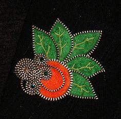 Tangerine designer zipper and felt handmade brooch with by 3latna, $16.00