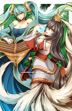 LoL: Sona and Ahri by Kamaniki.deviantart.com on @deviantART