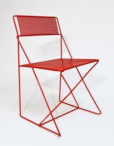 "X-Line Chair Niels Joergen Haugesen, for Hybodan, 1977 Steel (20"" x 18"" x 31"")"