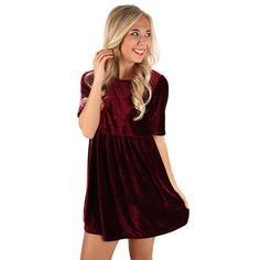 Velvet is everything this winter, so don't miss out on this classic velvet dress! With a great babydoll fit, you're sure to fall in love with this one! Paired with heels or boots, this dress is great for any occasion! Dress it up with a glam necklace, and you'll look effortlessly fabulous!