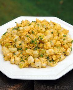 Mote pillo recipe or Ecuadorian hominy with eggs - Laylita's Recipes