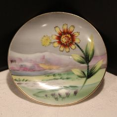 Vintage Porcelain Hand Painted Wall Plate by vintagekitchenhome