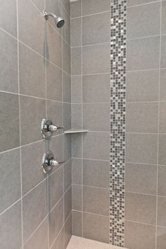 Tile shower with mosaic tile details