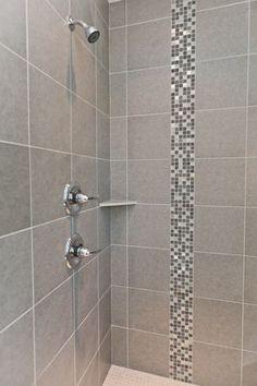 Tile shower with mosaic tile details