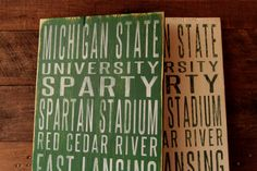 Michigan State University Spartans Distressed Wood Subway Art Sign