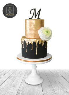 56 Trendy Golden Birthday For Women Black And Gold Birthday Cake, Golden Birthday Cakes, Black And Gold Cake, 30 Birthday Cake, Birthday Cakes For Women, Black Gold, 16th Birthday, Bolo Drip Cake, Drip Cakes