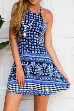 Trendy Style Halter Full Print Dress For Women Print Dresses | RoseGal.com Mobile