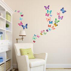 30 Vibrant Butterflies  Nursery Wall Stickers