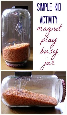 Keep your kids busy with a simple magnet play jar.