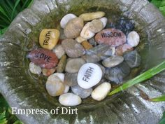Stones in a bird bath-take what you need
