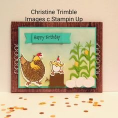 Chickens And Roosters, Little Birdie, Paper Crafts, Diy Crafts, Animal Cards, Funny Cards, Creative Cards, Stampin Up Cards, Farm Animals