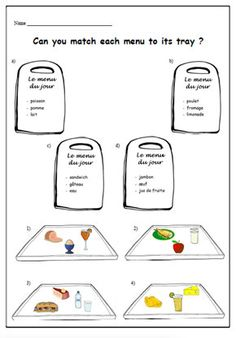 Kids Worksheet for Learning French Names of Fruits