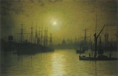 Nightfall on the Thames,  1880. Painted by John Atkinson Grimshaw. Excellent!